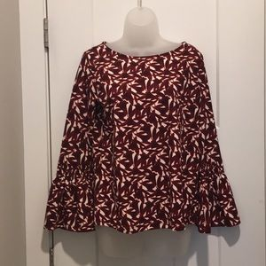 Top with Sheered Sleeve,Size-XS,Burgundy/Cream